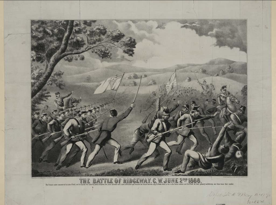 A painting of the Battle of Ridgeway.
