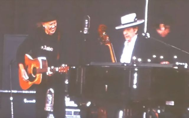Neil Young and Bob Dylan performing together at Kilkenny\'s Nowlan Park on July 14, 2019.
