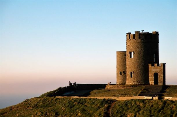 The iconic O\'Brien\'s Tower at the Cliffs of Moher as reopened following renovations.