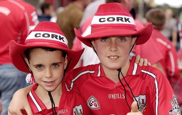 Cork Hurling fans (l-r) Shane (8) and Cian Murphy (12) ahead of Corks\' All Ireland title clash with Kilkenny in 2006.