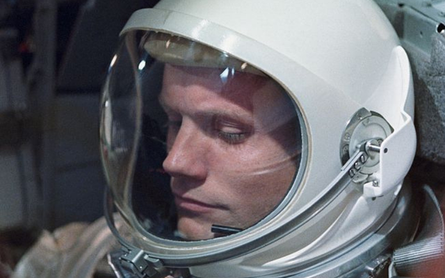 American astronaut Neil Armstrong on the one-day Gemini VIII mission. Three years later, Armstrong became the first man to set foot on the moon, during the Apollo 11 lunar landing.