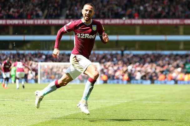 Conor Hourihane of Aston Villa celebrates after scoring his team\'s first goal during the Sky Bet Championship Play-off semi-final first leg match between Aston Villa and West Bromwich Albion at Villa Park on May 11, 2019, in Birmingham, England.