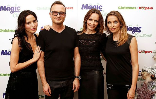 Andrea Corr, Jim Corr, Sharon Corr and Caroline Corr of The Corrs backstage at Magic Radios festive concert The Magic of Christmas at London Palladium on November 29, 2015, in London, England.