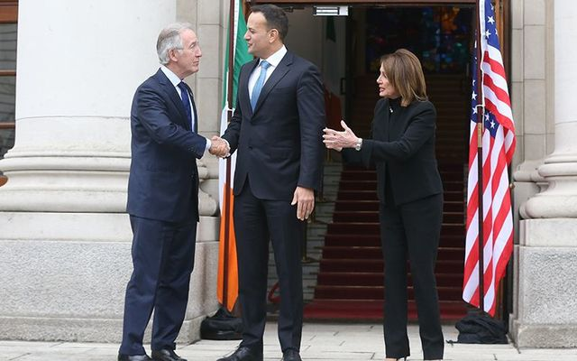 Char of the Means and Way Committee Richie Neal, Taoiseach (Prime Minister) Leo Varadkar and House Speaker Nancy Pelosi photographed outside the Taoiseach\'s offices, in Dubin, in June 2019.