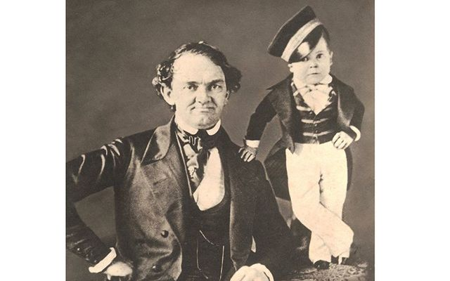 Charles Sherwood Stratton a.k.a. General' Tom Thumb (right) and his manager, Phineas Taylor Barnum, c. 1850.