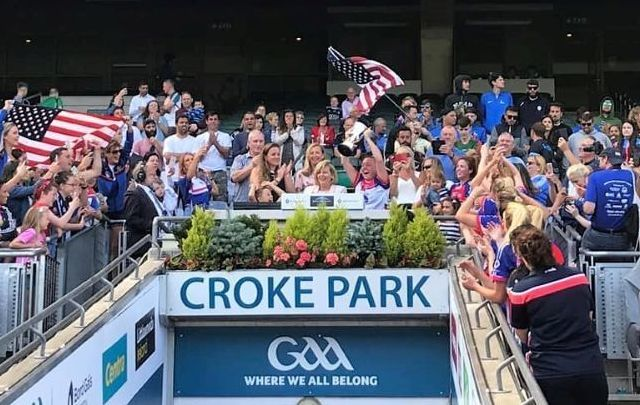 New York Ladies celebrate their football championship in Croke Park