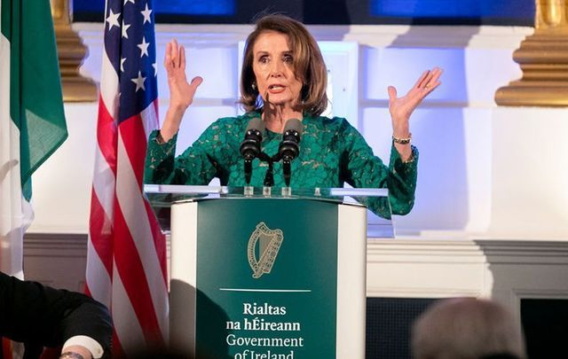 US House Speaker Nancy Pelosi speaking in Dublin Castle, in June 2019.