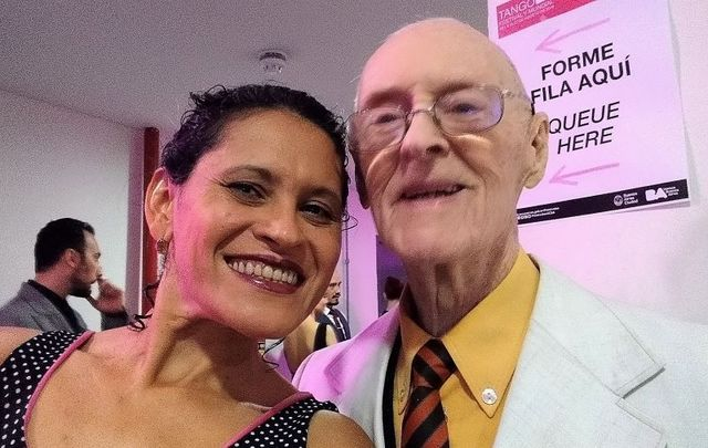 Lucia Seva and her 99-year-old dance partner James McManus