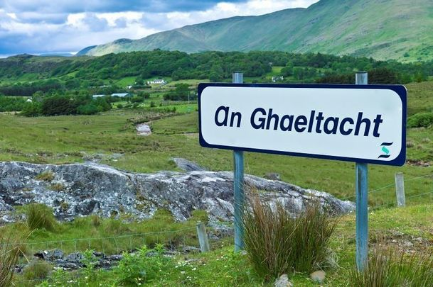 An Ghaeltacht sign depicting Gaelic speaking area in Connemara, Co Galway.