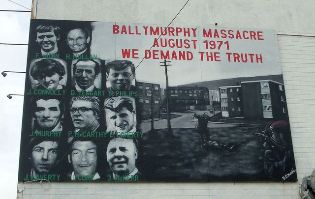 A mural dedicated to the 11 people killed by British soldiers in the Ballymurphy Massacre, including Joan Connolly.