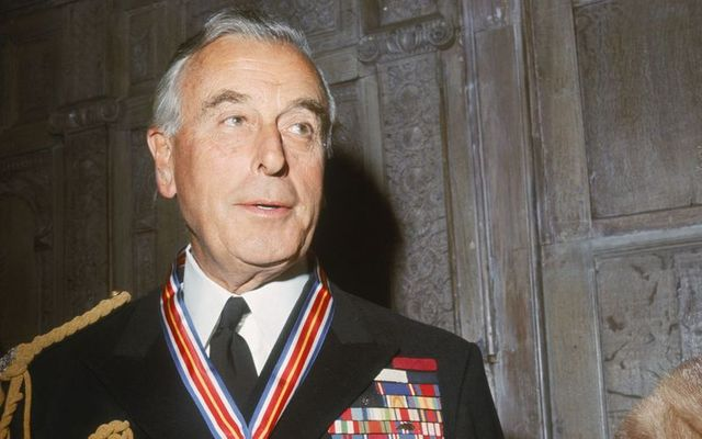 Lord Louis Mountbatten (1900 -1979) wearing the Veterans of Foreign Wars Merit Award, presented to him by the U.S. Veterans of Foreign Wars organization for outstanding service in World War II, circa 1965. \n