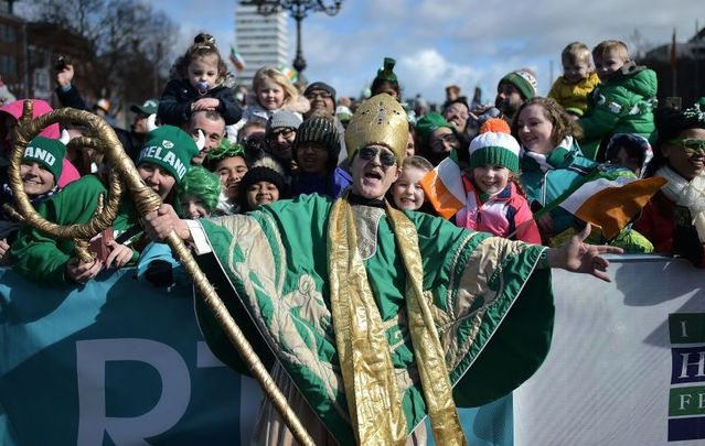 An actor playing the part of Saint Patrick leads the annual Saint Patrick\'s Day parade on March 17, 2019, in Dublin, Ireland.