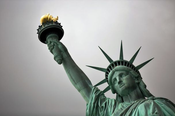"The Statue of Liberty: ""Give me your tired, your poor...\"" or are we going to have a left-wing English lesson instead."