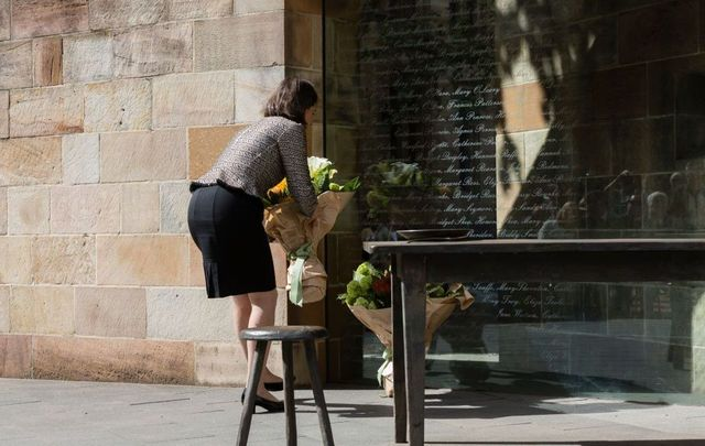 New South Wales Premier Gladys Berejiklian lays flowers at The Australian Monument to the Great Irish Famine on October 18, 2017, in Sydney, Australia.