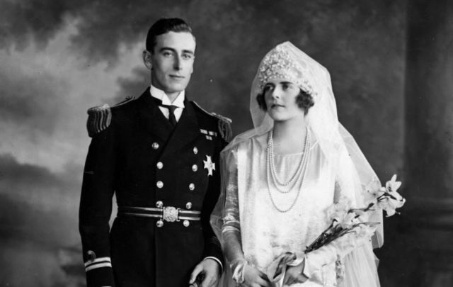 Lord Mountbatten and his wife Edwina on their wedding day