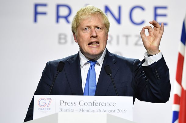 British Prime Minister Boris Johnson, at the G7 summit in France.