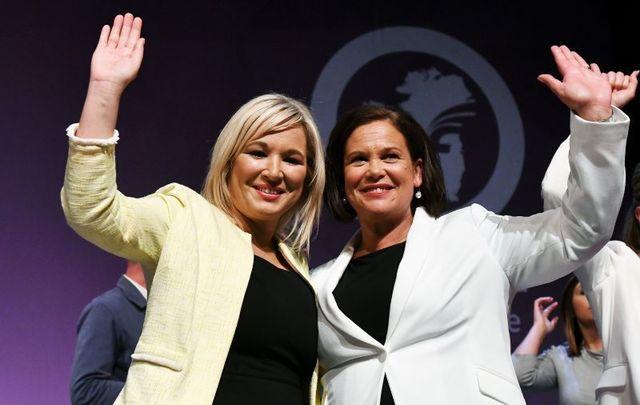 Michelle O\'Neill and Mary Lou McDonald, leaders of Sinn Féin, at their 2018 Ard Fheis.