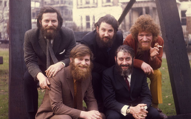 Bearded Irish pop group The Dubliners in London. Originally founded in the sixties, they were still prevalent in the late nineties.