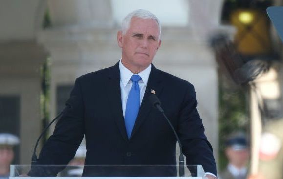 Vice President Mike Pence speaking in Poland earlier this week.