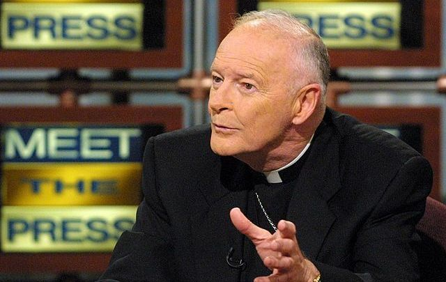 Archbishop of Washington Cardinal Theodore McCarrick speaks during a taping of the Christmas special edition of \'\'Meet the Press\'\' -- Americas Recovery, December 23, 2001, at the NBC studios in Washington, DC.
