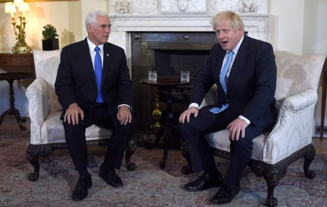 Prime Minister Boris Johnson meets with US Vice President Mike Pence inside 10 Downing Street on September 5, 2019, in London, England.