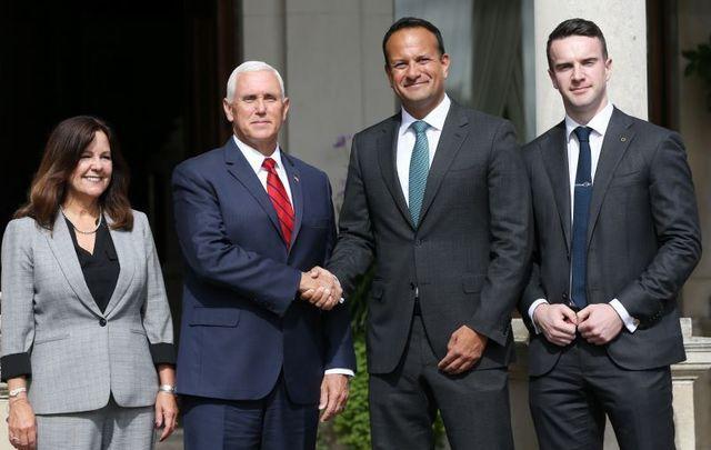 Second Lady Karen Pence, US Vice President Mike Pence, Taoiseach Leo Varadkar, and Varadkar\'s partner Matthew Barrett in Dublin.
