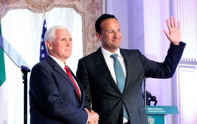 US Vice President Mike Pence and Taoiseach Leo Varadkar hold a press conference at Farmleigh House on September 3, 2019, in Dublin, Ireland. The Vice President is on an official two-day visit to Ireland and is staying at President Trump\'s golf course resort Doonbeg in County Clare.