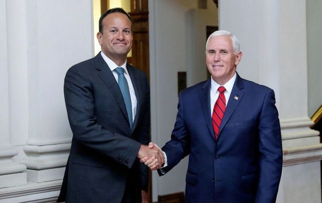 US Vice President Mike Pence meets Taoiseach Leo Varadkar at Farmleigh House on September 3, 2019, in Dublin, Ireland.