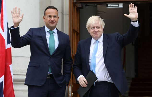 Taoiseach Leo Varadkar and British Prime Minister Boris Johnson in Dublin on Monday.