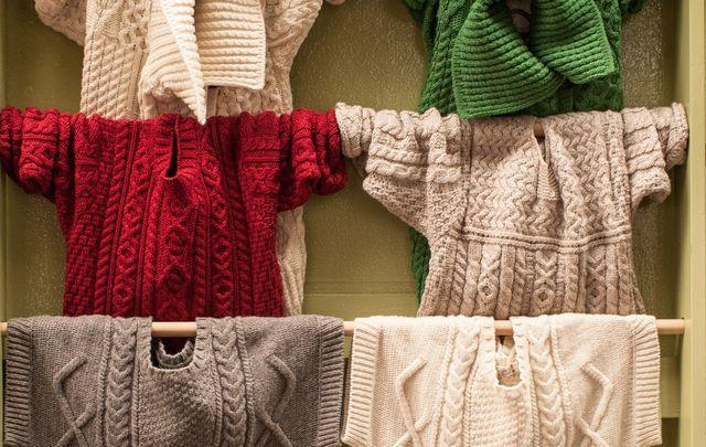 The beautiful handmade Aran sweaters.