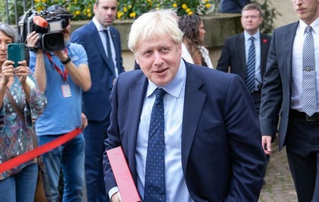 British Prime Minister Boris Johnson arrive for a Brexit meeting with Luxembourg\'s Prime Minister Xavier Bettel on September 16, 2019, in Luxembourg.