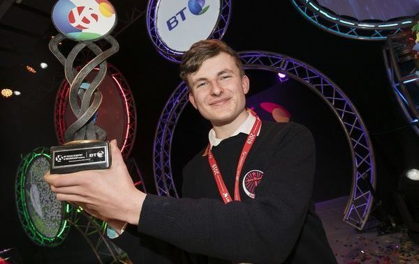 """BT Young Scientist & Technologist Award 2019 Adam Kelly from Skerries Community College, Co Dublin for his project """"Optimizing The Simulation Of General Quantum Circuits"""" in the Chemical, Physical & Mathematical Sciences Senior Individual Category at the BT Young Scientist & Technology Exhibition 2019 in the RDS Dublin."""