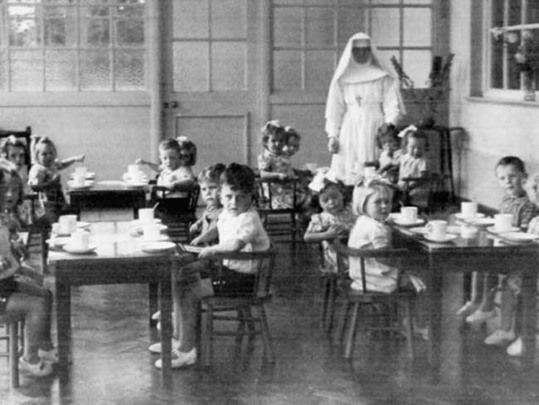 Children\'s dining room at Sean Ross Abbey. Home for unmarried mothers and their babies held dark secrets.