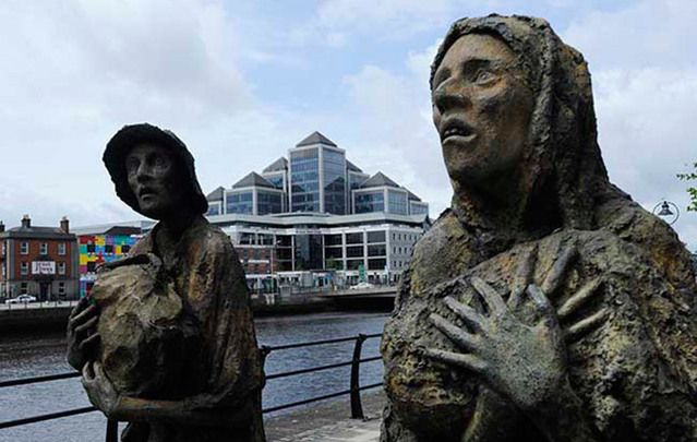 Between 1845 and 1855 one-quarter of Irish inhabitants were removed from their homeland.