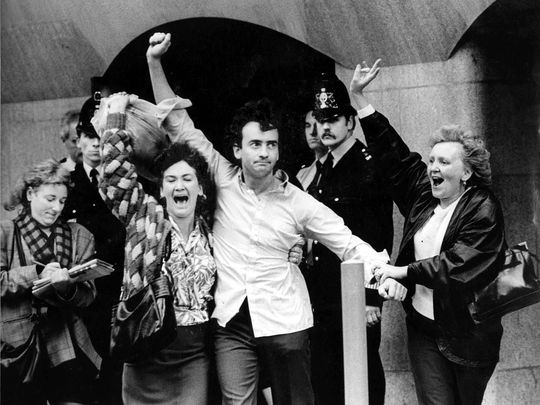 Gerry Conlon, of the Guildford Four, released from prison in 1989.