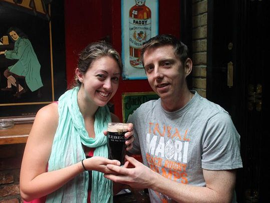 Is this not the best Irish proposal ever? For Rebecca and Laurence, nothing says I love you like a pint of Guinness.