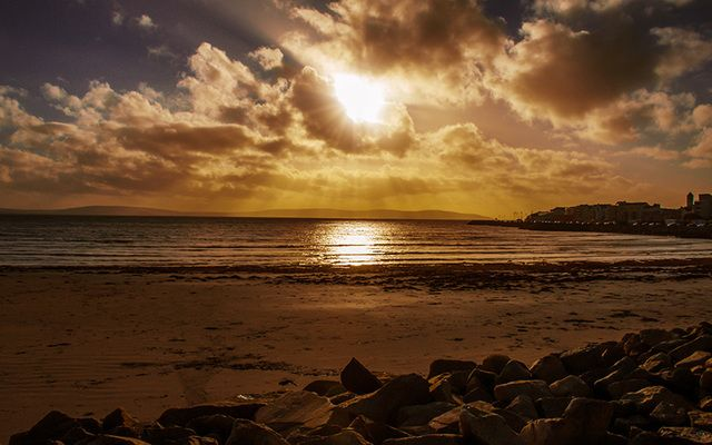 Galway Bay at sunset.