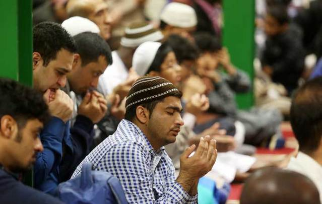 Dublin Muslims at prayers to celebrate Eid al Adha in the Islamic Educational and Cultural Centre.