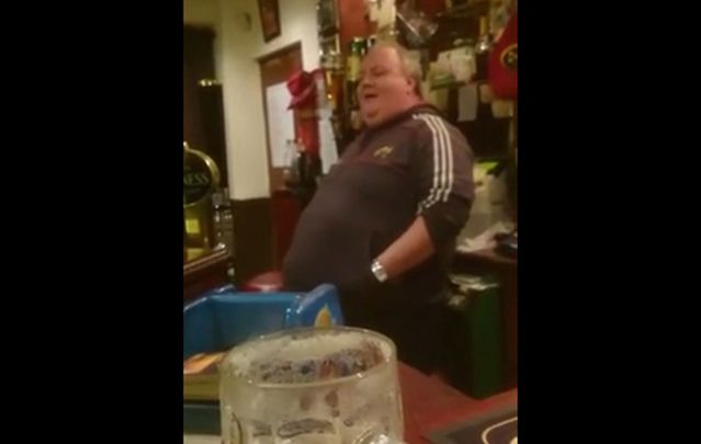 "Cork man John Horgan singing ""Bright Blue Rose"" as he serves his locals goes viral on Facebook."