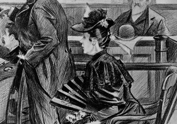 The Borden murder trial—A scene in the court-room before the acquittal - Lizzie Borden, the accused. 29 June 1893.