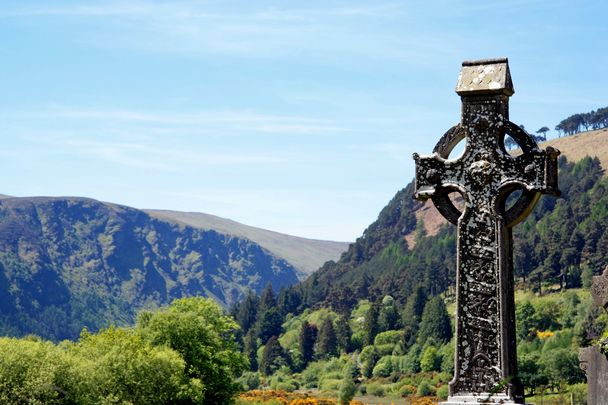 A Celtic high cross at Glendalough, County Wicklow.