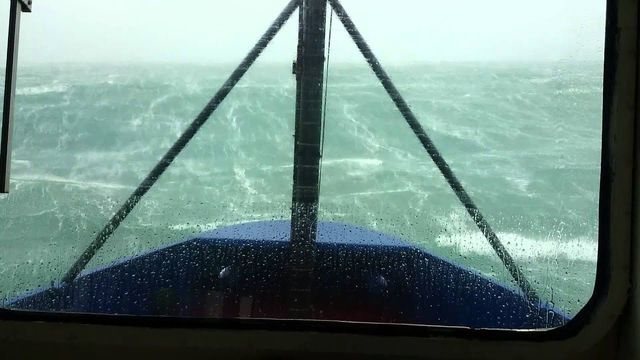 Ship's camera captured two-story-high waves crashing off the Irish coast.
