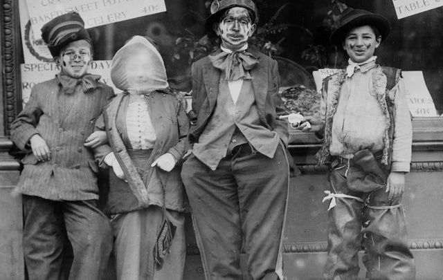 Some Thanksgiving Ragamuffins, photographed circa 1910 to 1915. Not so different to our Halloween.