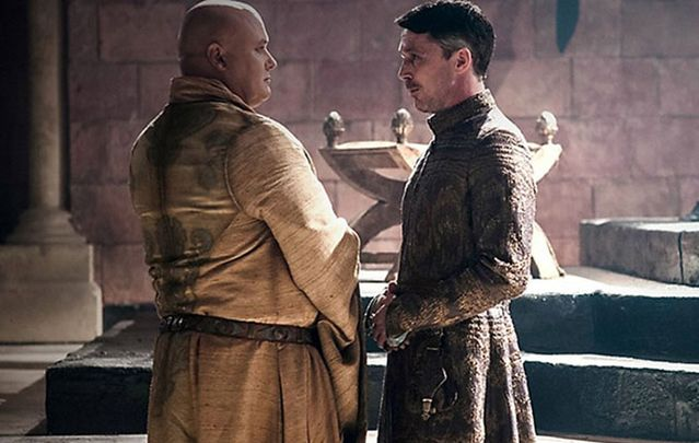 Irish actors Conleth Hill as Lord Varys and Aiden Gillen as Lord Baelish in Game of Thrones.