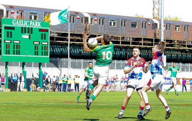 Mom and Pop joined their Irish friends in the sun-drenched, splintery stands to enjoy the national games of Ireland – Gaelic Park