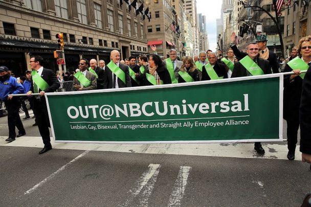 March 17, 2015: Members of the first openly gay group, OUT@NBCUniversal, make their way up 5th Avenue during New York City\'s St. Patrick\'s Day Parade.