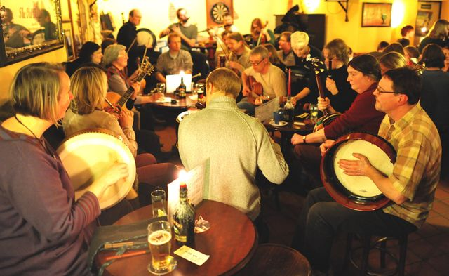 An Irish trad seisuin in the Old Dubliner pub, in Hamburg, Germany.