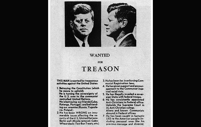 A a 650-word attack on JFK's administration's domestic and foreign policies, which ran in the Dallas Morning News the day before he was assassinated there.