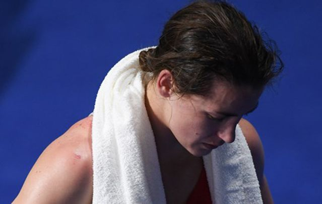 Katie Taylor crushed by her Olympic defeat yesterday.