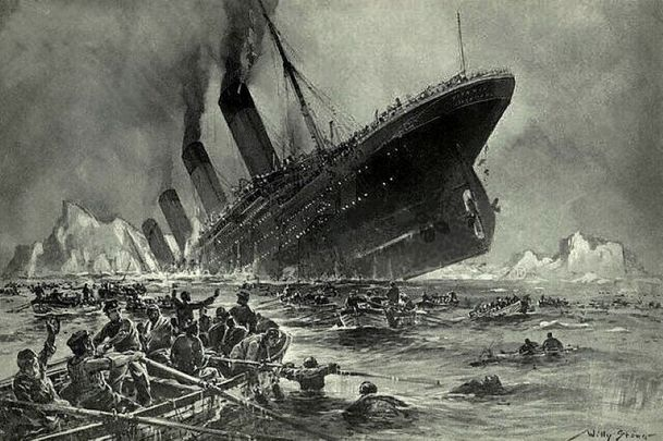 An illustration of the Titanic sinking by artist Willy Stöwer.